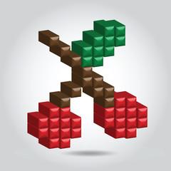 Illustration pixel cherry