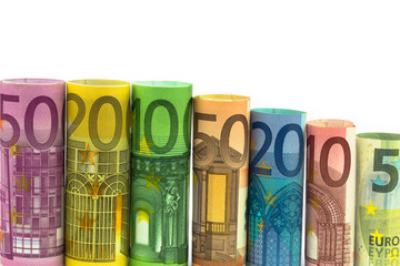 Euro Banknoten gerollt