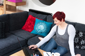 Woman working at contemporary home