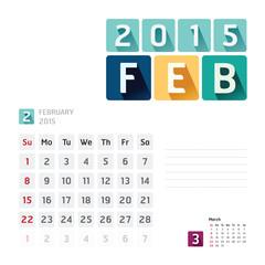 2015 Calendar Calendar Vector  Design. February