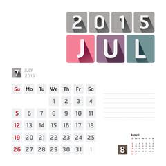 2015 Calendar Calendar Vector  Design.  July