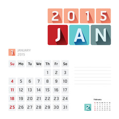 2015 Calendar Calendar Vector  Design. January