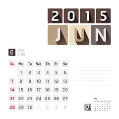 2015 Calendar Calendar Vector  Design. June