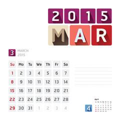2015 Calendar Calendar Vector  Design. March