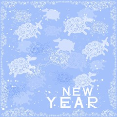 Christmas background with silhouettes of sheeps