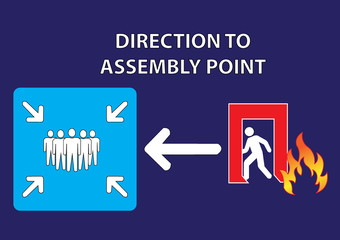 direction of assembly point. vector illustration