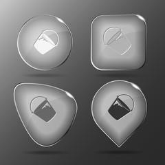 Bucket. Glass buttons. Vector illustration.