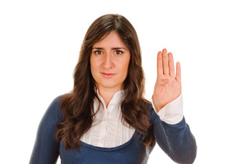 Young Woman with Hand Up