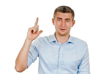 Eureka.Man with an idea raising her finger