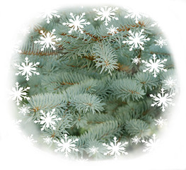 Christmas decoration with snow flakes