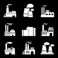 Factory and power plants icon set