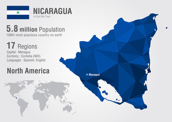 Nicaragua world map with a pixel diamond texture.