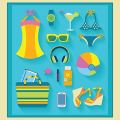 Summer and beach women accessories icons set