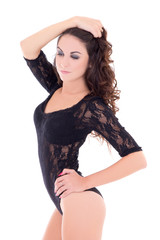 beautiful sexy woman in black lace lingerie bodysuit isolated on
