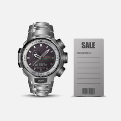 Sale promotion with Smart watch vector.