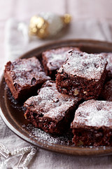 Christmas brownies with nuts and dried cranberries