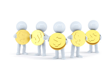 Group of 3d people with gold shiny coins. Isolated
