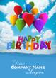 Happy birthday with blue balloons custom