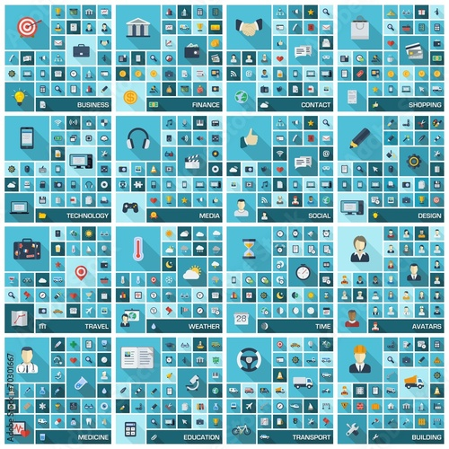 Large flat icons set poster
