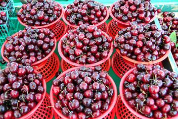 fresh organic ripe cherries