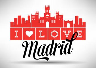 I Love Madrid Skyline Design