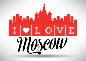 I Love Moscow Skyline Design