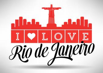 I Love Rio de Janeiro Skyline Design