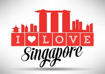 I Love Singapore Skyline Design