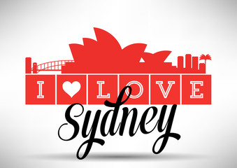 I Love Sydney Skyline Design