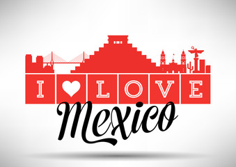 I Love Mexico Skyline Design