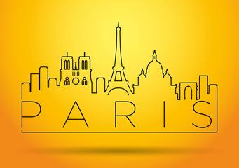 City of Paris Minimal Skyline Design