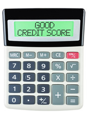 Calculator with GOOD CREDIT SCORE on display isolated on white