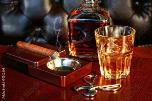 canvas print picture Whiskey and cigar