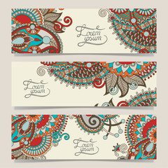 set of decorative flower template banner