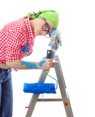 Tired woman with paint roller, isolated on white