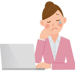 パソコンをする女性 泣く