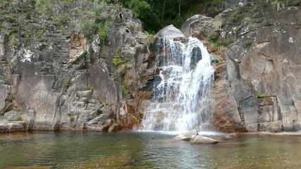 Tahiti waterfall in Peneda Geres National Park in Portugal