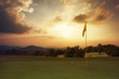 Leinwanddruck Bild - Mountain sunrise at the golf course