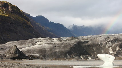 Glacier tongue from the Vatnajökull with rainbow - Iceland