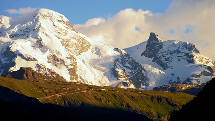 snow mountain at sun set