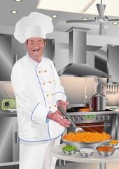 Chef Offering Spaghetti Milanese