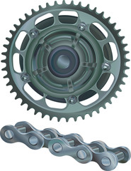 Sprocket Wheel With Chain Links