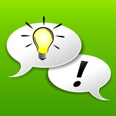 Vector light bulb speech bubble