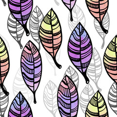 Watercolor stylized leaves seamless pattern
