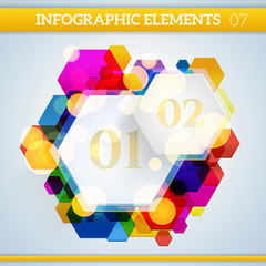 Infographic hexagonal paper elements