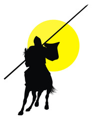 Knight with lance riding on horseback. Vector silhouette
