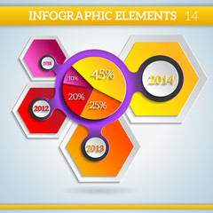 Paper bright Infographic colorful diagram for presentations.