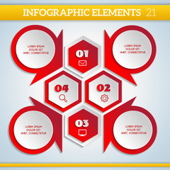 Geometric paper Infographic scheme with steps elements.