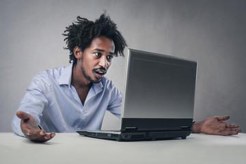 Surprised man working