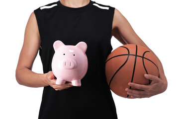 basketball player holding a piggy bank